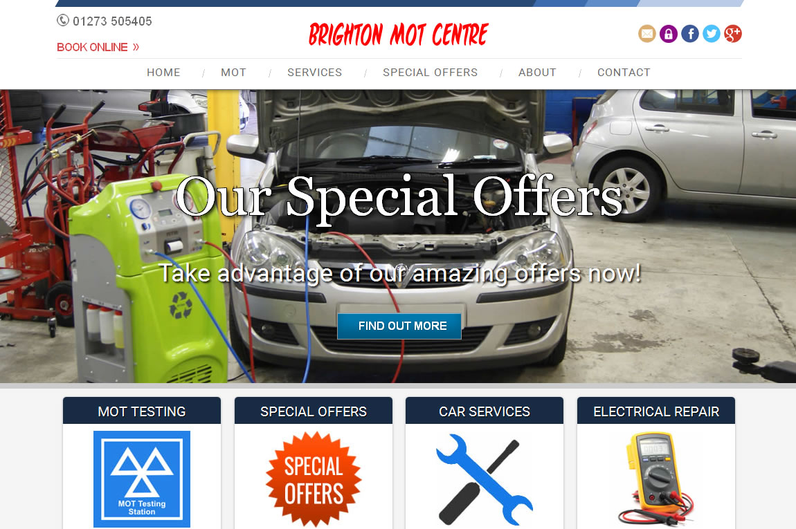 Brighton MOT Centre - Custom Web design & Development